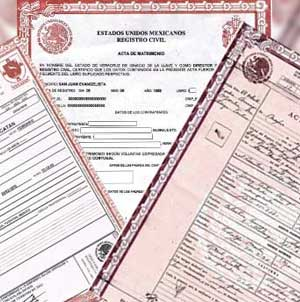 Certificado de nacimiento, defunción, etc..