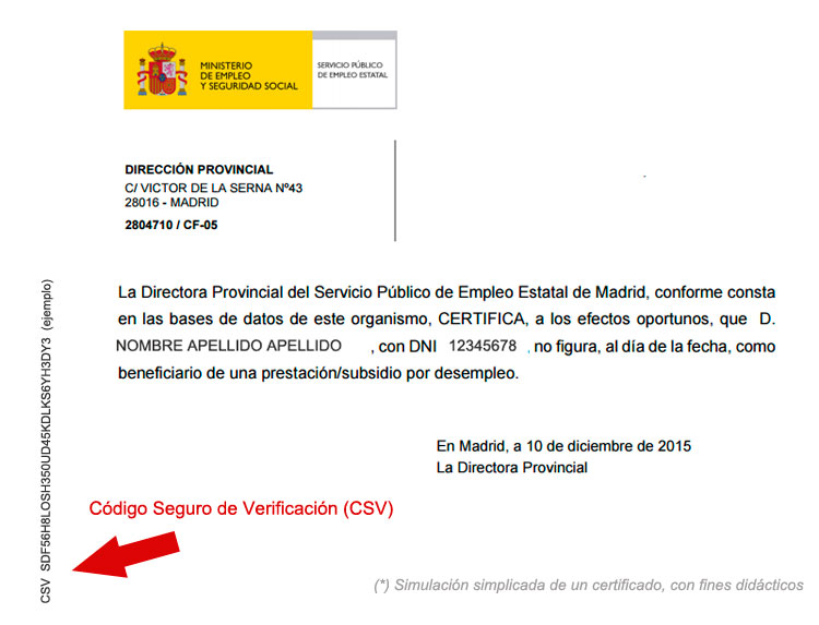 Código Seguro de verificación CSV, validador de documentos oficiales