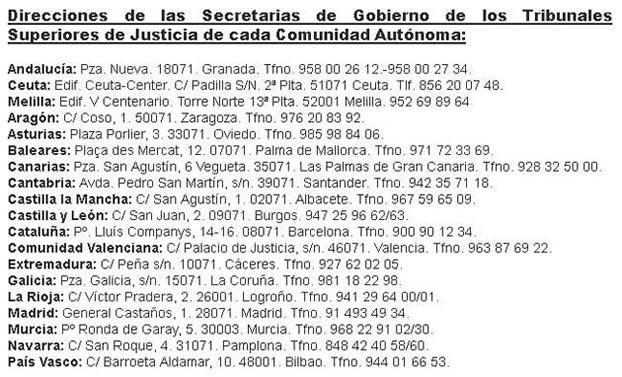 Secretarías tribunales superiores de Justicia de las CCAA